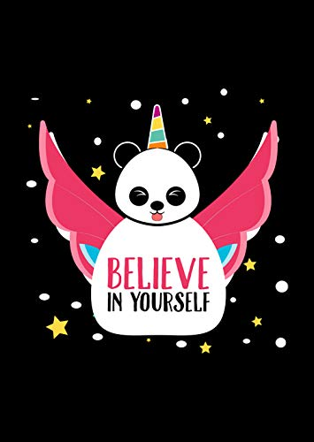 Believe In yourself Unicorn Panda Novelty LGBTQ Equality Awareness Poster A Great Gift for Gay Lesbian Bisexual Transgender Transsexual on Christmas Birthday Perfect Black 12x17 Poster By -