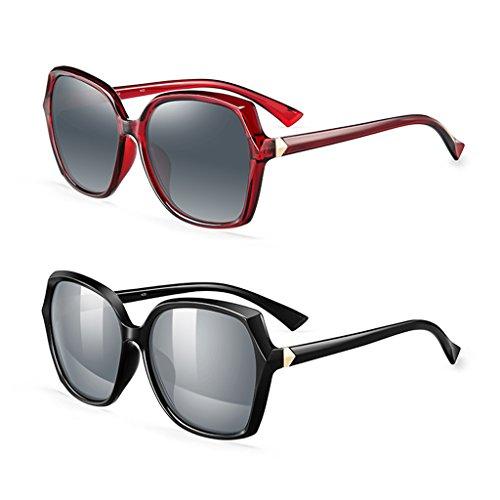 Vin de Rouge cadre lunettes soleil élégant Mesdames grand fSqzwn