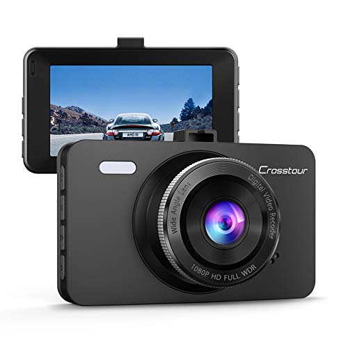 Dash Cam, Crosstour 1080P Car DVR Dashboard Camera Full HD with 3 LCD Screen 170°Wide Angle, WDR, G-Sensor, Loop Recording and Motion Detection (CR300)