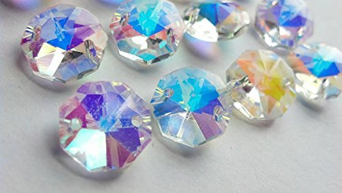 - 14mm Chandelier Crystals Iridescent Aurora Borealis AB Octagon Beads Pack of 50