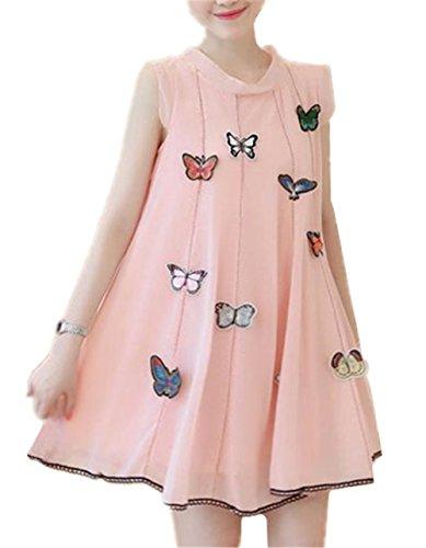 Abito Maniche Stampa Abito Butterfly Vestito Donna Dress Senza Belle Partito Spiaggia Lose Da Moda Cocktail Vestito Elegante Chiffon Kerlana Rosa Casual Da Gravidanza fvg46SS