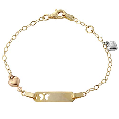Baby Bee Charms (14k Tri-Color Gold Baby ID Butterfly Heart Charm Bracelet, 6