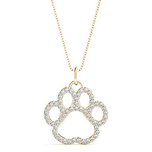 Yellow 14KT 3/8 CT Round Cut Diamond Puppy Pendant Necklace Charm Amcor Design (0.375 Ct Round Diamond)