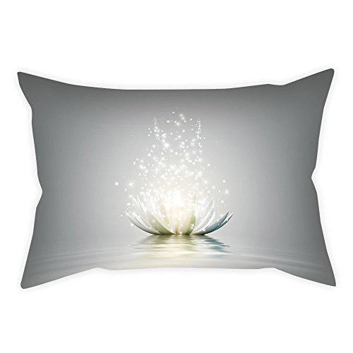 iPrint Cotton Linen Throw Pillow Cushion Cover,Lotus,Lotus Petals Surreal Boho Inspiration Relax Exotic Waterlily Picture Decorative,Light Grey Silver Coconut,Decorative Square Accent Pillow Case (12l Lily)