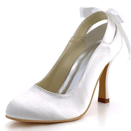 ElegantPark MM-1125 Mujer Satén Punta Chiusa Tacón de Aguja Cintas Bombas Zapatos de Novia Blanco