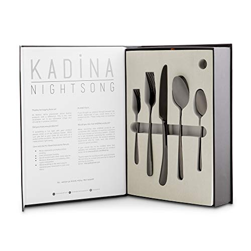 Stunning Silverware Set, Black Mirror Polish, 4 Forks, Spoons, Knives, Dessert Forks, Teaspoons, Service for 4 - Elegant, Stainless Steel Dining Utensils and Flatware - Nightsong Collection