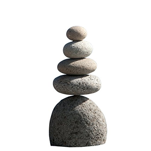 Natural River Stone Quintuple Rock Cairn 5 Stacked Zen Garden Pile Stone