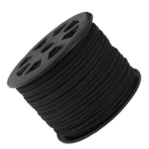 (Jili Online Roll Flocking Velvet Cord Rope String for DIY Jewelry Making Thread Beading Crafts - Black)