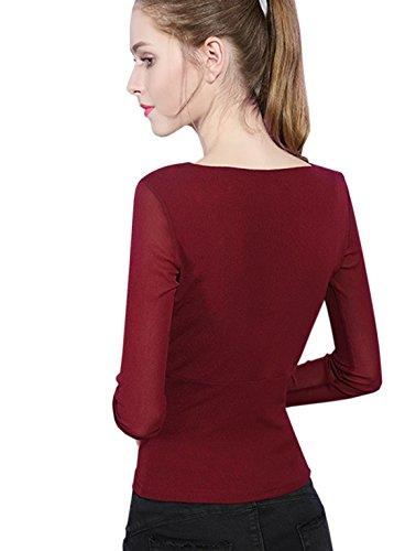 Femme Longue Avec Foncé Vineux Mode Sexy Rouge T Printemps shirt Automne Manche amp; V Acvip HWFdfqwnH