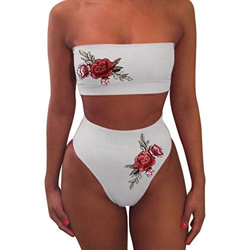 HHmei Women Fashion Sexy Swimwear Embroidered Rose High Waist Bikini Set Bathing Suit, Swimsuits Piece Sexy Two one high Shorts top Skirted Bottom Set Waist Bikini Cover Tops Sleeves ATHL (White M)