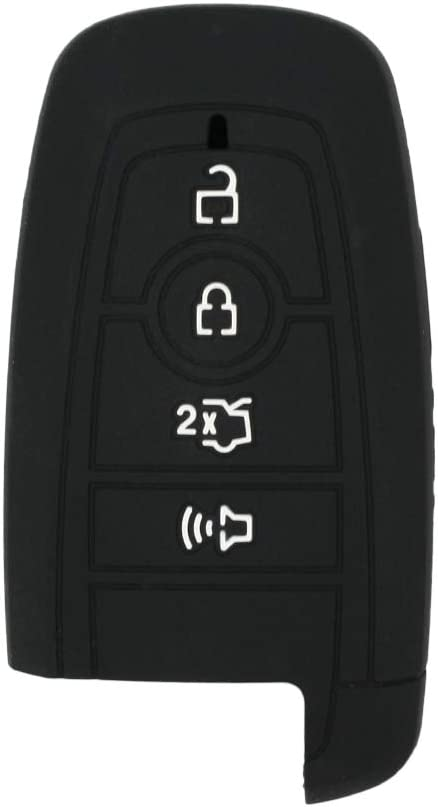 SEGADEN Silicone Cover Protector Case Holder Skin Jacket Compatible with FORD Fusion 4 Button Smart Remote Key Fob CV2717 Gray
