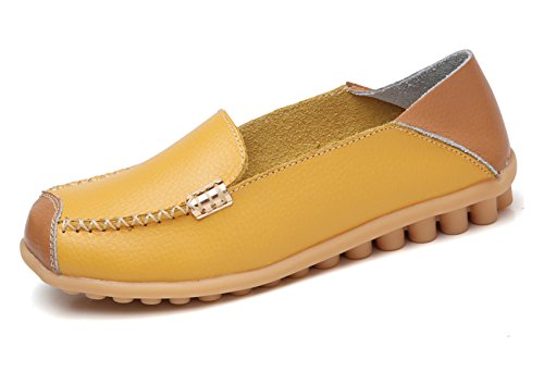 VenusCelia Women's Comfort Walking on Air Flat Loafer(6 B(M) US,Yellow) by VenusCelia