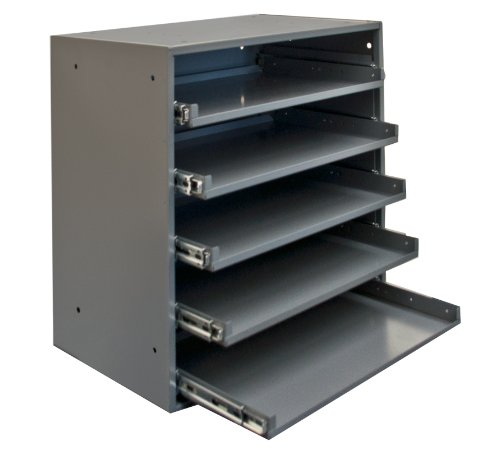 Durham 305B-95 Cold Rolled Steel Heavy Duty Triple Track Bearing Slide Rack FOR 5 Large Compartment Boxes, 375 lbs Capacity, 12-1/2