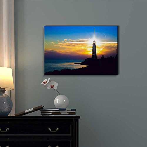 Beautiful Scenery Landscape Lighthouse at Sunset Wall Decor ation