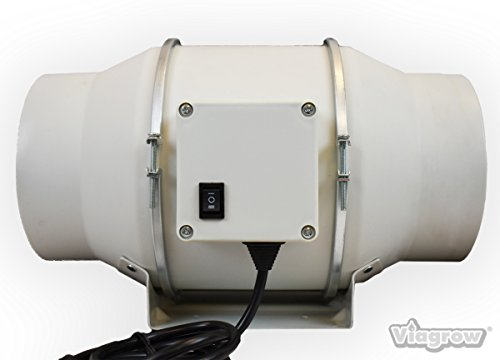 Agricultural Exhaust Fan - Viagrow 303 CFM Ceiling or Wall Inline Exhaust Fan, 6