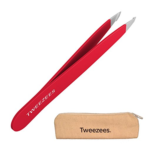 Eyebrow Tweezers - Precision Slant Tweezers - Best For Eyebrow Shaping, Hair Removal and Ingrown Hair Treatment - Surgical Grade Japanese Stainless Steel - For Men and Women (Red) - Edge Slant Tip Tweezers