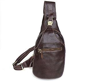 Genda 2Archer Casual Daypack Leather Sling Shoulder Backpack Chest Bag