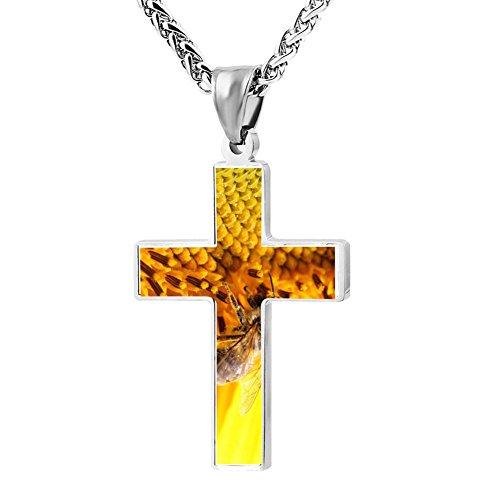 Gjghsj2 Cross Necklace Pendant Religious Jewelry Bee On Sunflower For Men -