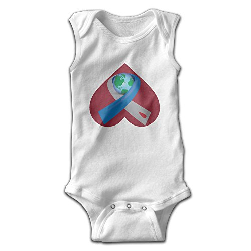 Sleeveless Diabetes Awareness Ribbon Around The World Unisex Infant Cute Onesies Bodysuit Romper Outfits 24 Months (Around The World Outfit)