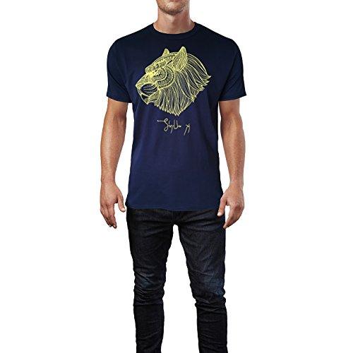 SINUS ART ® Kopf eines Löwen im Ethno Stil Herren T-Shirts in Navy Blau Fun Shirt mit tollen Aufdruck
