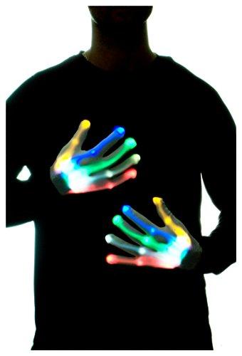 GlowCity Light Up LED Skeleton Hand Gloves Multi Color -