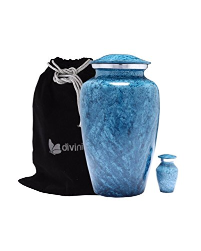 Blue Marble Finish Cremation Urn