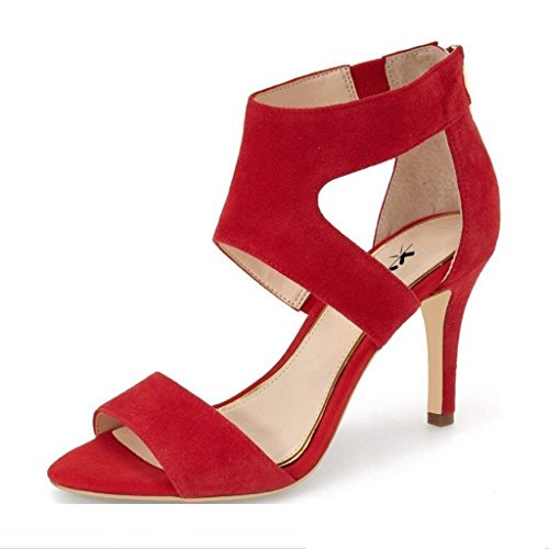 XYD Prom Dancing Shoes Elegant Open Toe Strappy Heeled Sandals Ankle Wrap Dress Pumps for Women Size 12 Red -