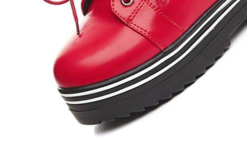 Allhqfashion Womens Lace-up Gesloten Ronde Neus High-heels Pu Low-top Laarzen Rood