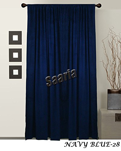 SAARIA Navy Blue Velvet Fabric Custom Made Panel 11 ft W X 8 ft H Movie Home Theater Backdrop Curtain Drapes Stage Studio by Saaria Curtains