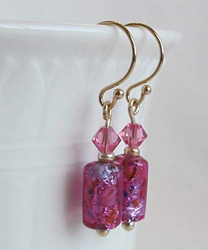 Charming Fuchsia Venetian Murano Glass & Swarovski Beads Dangling Solid 14k Yellow Gold Earrings