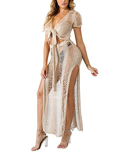 Women's 2 Pieces Knited Ripped See-Through Crop Tops Bodycon Skirts Sexy Party Cocktail Beach Dress Outfit Set 2 Piece Knit Pants
