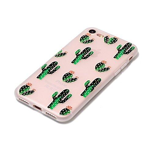 iPhone 7 Coque,3D Cactus fleurissant Premium Gel TPU Souple Silicone Transparent Clair Bumper Protection Housse Arrière Étui Pour Apple iPhone 7 + Deux cadeau