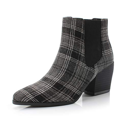 DUNION Women's Bliss Fashion Dress Comfortable Chunky Heel Casual Daily Ankle Chelsea Bootie,Black Plaid,11 B(M) US ()