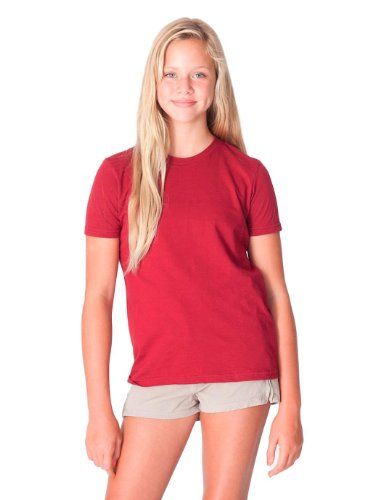 Kids Cranberry Apparel - American Apparel Boys Fine Jersey Short-Sleeve T-Shirt (2201) -CRANBERRY -12