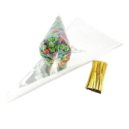 JZK 100 Clear Cone Sweet Bags with Ties cellophane Party Treat Bags for Sweets Snacks Confetti for Wedding Birthday Christmas Halloween Baby Shower Party]()