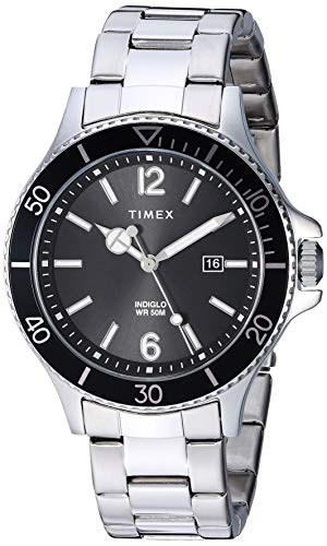 Timex Mens TW2R64600 Harborside Silver-Tone/Black Stainless Steel Bracelet Watch