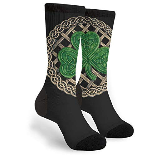 Shamrock Lattice And Celtic Knots On Black Novelty Socks For Women & Men One Size - ()