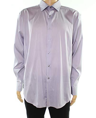 Alfani Mens Athletic Fit Striped Dress Shirt Gray 17 1/2