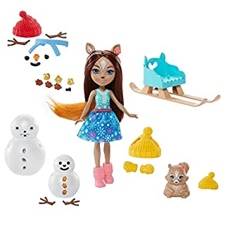 Enchantimals Snowman Face-Off with Sharlotte Squirrel Small Doll (6-in), Walnut Animal Figure, & 2 Snowman Figures with Removable Stick, Buttons, Carrot Nose for Building Fun [Amazon Exclusive]