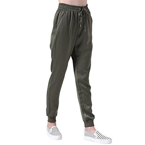 JIANGTAOLANG Women Pants Fitness Linen Pants Sporty Green Sweatpants Leggings Pantalons Mujer Femme