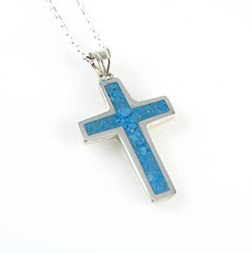 Men's Women's Sterling Silver Blue Turquoise 1'' Cross Pendant Necklace 18+2''(45+5cm) Adjustable Silver Chain