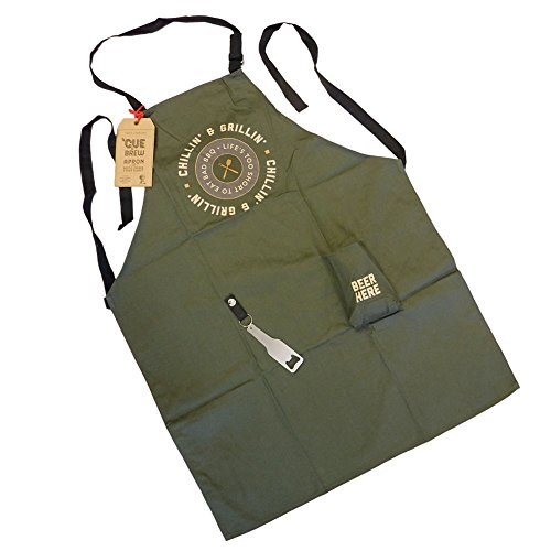 (Two's Company 'Cue & Brew Barbecue Apron with Bottle Opener and Beer Pocket (Green - Chillin &)