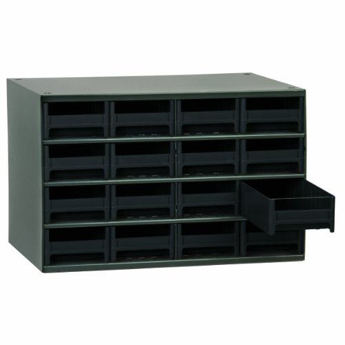 Akro-Mils 19416 17-Inch W by 11-Inch H by 11-Inch D 16 Drawer Steel Parts Storage Hardware and Craft Cabinet, Black Drawers by Akro-Mils