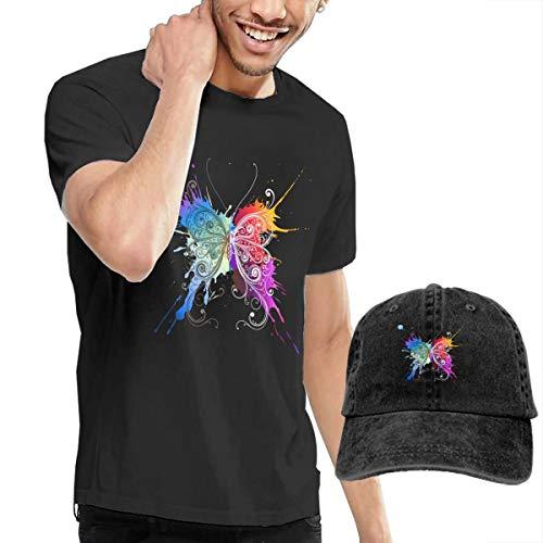 Men's Short Sleeves Colorful Butterfly T-Shirt + Cowboy Hats Combo Set Black