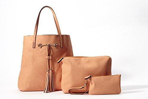 Leather-Look Shoulder Bag Tote, Medium Novelty and Clutch 3-Pc Handbag Set (Melon) (Large Clutch Vine Wallet)