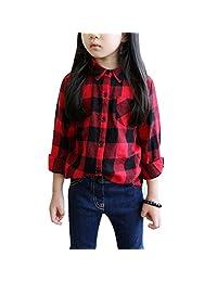 Mesinsefra Little Girl's Casual Long Sleeve Button Down Plaid Flannel Shirt