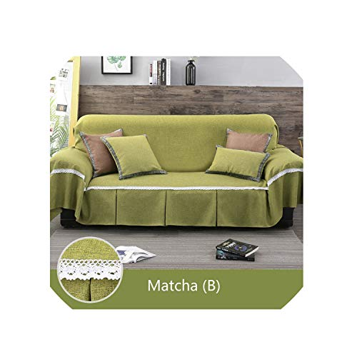 - Lucky Girl-Slipcover 1Pc Solid Color Sofa Cover for Living Room Sofa Towel All Inclusive Dust Cover Couch Home Decoration Sofa Slipover,Matcha (B),2 Seats 190X260Cm