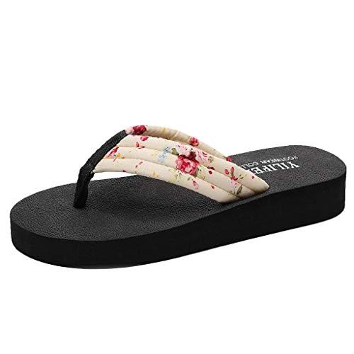 06c64ef835757 Hilotu Shoes Women's Sandals Floral Thick Elegant Indoor Outdoor Pump Flats  Flip Flop Slide Slipper Clog Mule (Color : Beige, Size : 7 M US)