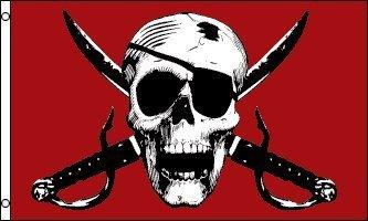 Skull and Crossbone Jolly Roger Crimson Pirate 5'x3' Banner Flag 1000 Flags