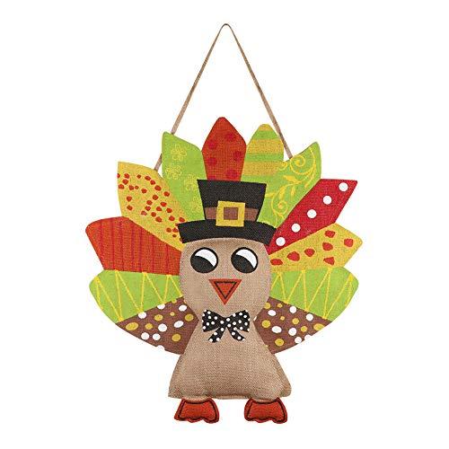 (Aytai Adorned Turkey Burlap Door Decor for Garden Door Wall Hanging Thanksgiving Decorations)